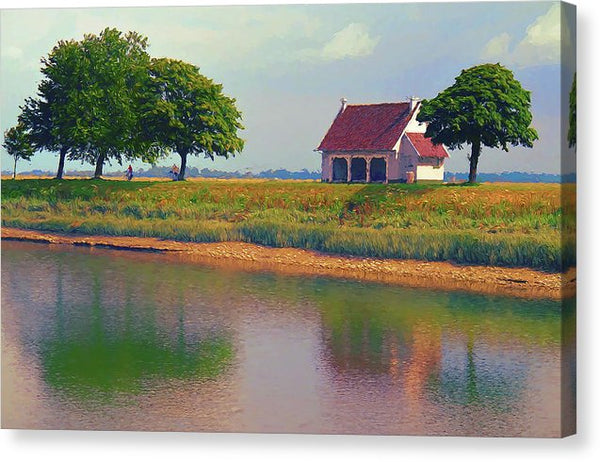 Painting of Rural Farmhouse On River - Canvas Print from Wallasso - The Wall Art Superstore