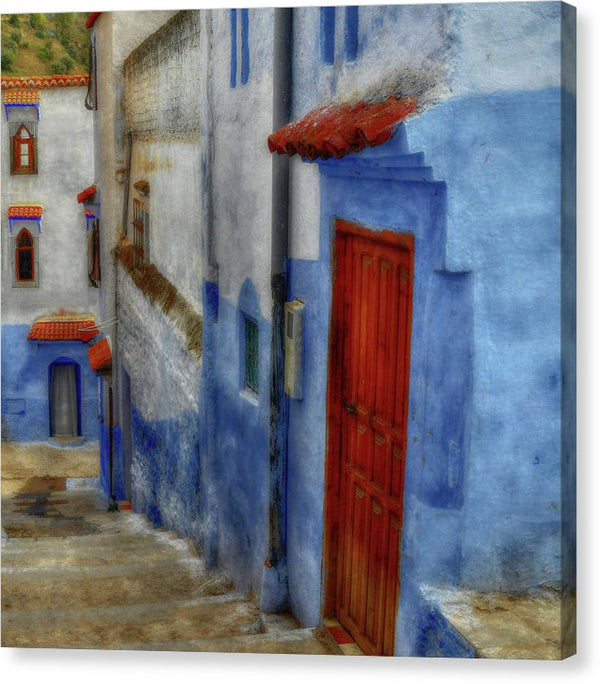 Painting of Village Alley With Red Door - Canvas Print from Wallasso - The Wall Art Superstore