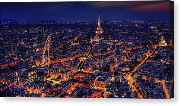 Paris France At Night Aerial - Canvas Print from Wallasso - The Wall Art Superstore