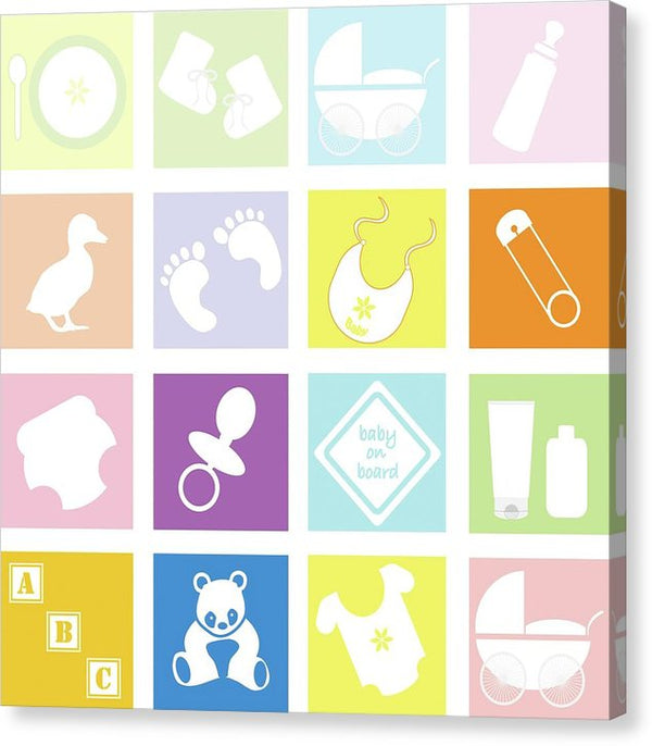 Pastel Colored Baby Icons For Nursery - Canvas Print from Wallasso - The Wall Art Superstore