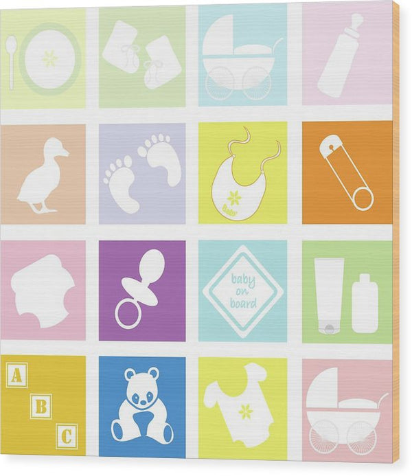 Pastel Colored Baby Icons For Nursery - Wood Print from Wallasso - The Wall Art Superstore