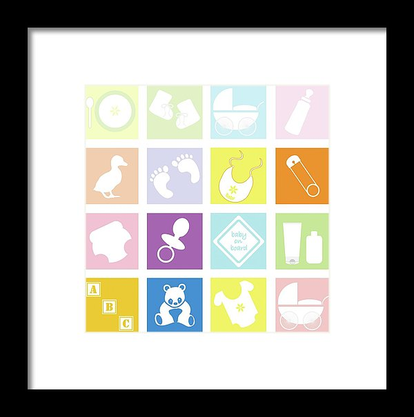 Pastel Colored Baby Icons For Nursery - Framed Print from Wallasso - The Wall Art Superstore