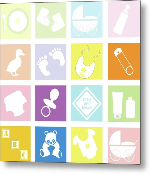 Pastel Colored Baby Icons For Nursery - Metal Print from Wallasso - The Wall Art Superstore