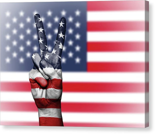 Peace Sign With American Flag - Canvas Print from Wallasso - The Wall Art Superstore