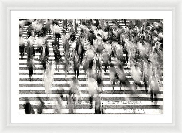 Pedestrians In Busy City Crosswalk - Framed Print from Wallasso - The Wall Art Superstore