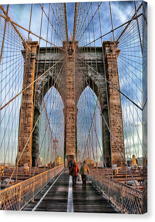 Pedestrians On Brooklyn Bridge, New York City - Canvas Print from Wallasso - The Wall Art Superstore