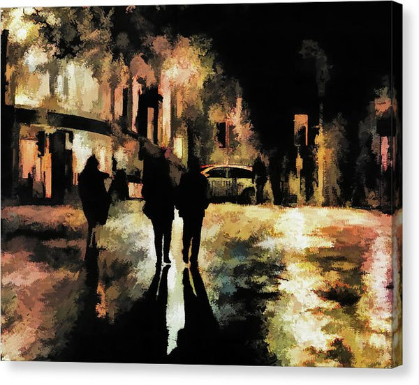 People On City Street At Night, Painting - Canvas Print from Wallasso - The Wall Art Superstore