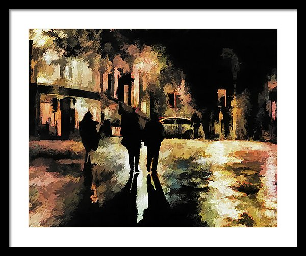 People On City Street At Night, Painting - Framed Print from Wallasso - The Wall Art Superstore