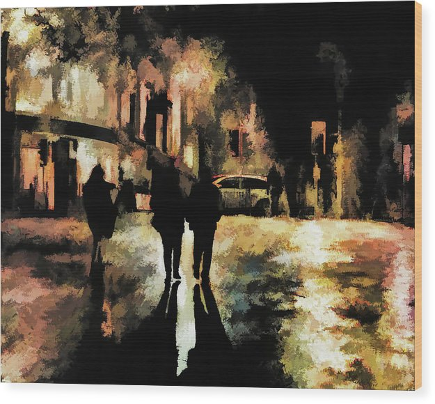People On City Street At Night, Painting - Wood Print from Wallasso - The Wall Art Superstore