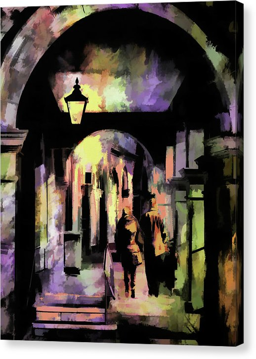 People On City Walkway, Painting - Canvas Print from Wallasso - The Wall Art Superstore