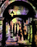 People On City Walkway, Painting - Art Print from Wallasso - The Wall Art Superstore