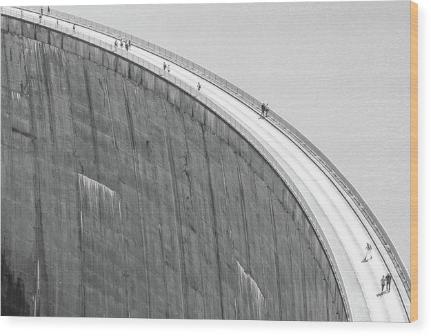 People On Reservoir Dam, Black and White - Wood Print from Wallasso - The Wall Art Superstore