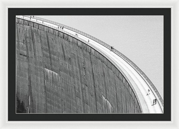People On Reservoir Dam, Black and White - Framed Print from Wallasso - The Wall Art Superstore