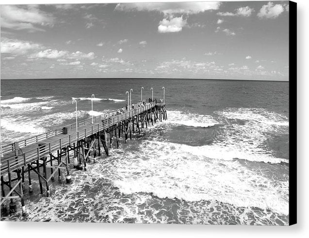People On Pier With Waves Below - Canvas Print from Wallasso - The Wall Art Superstore