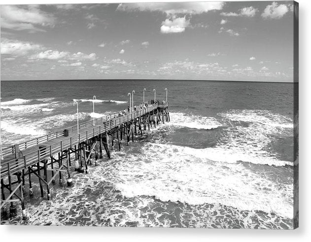 People On Pier With Waves Below - Acrylic Print from Wallasso - The Wall Art Superstore