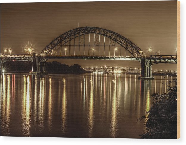 Philadelphia, Pennsylvania Bridge At Night - Wood Print from Wallasso - The Wall Art Superstore