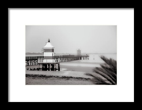 Pier With Two Lighthouses In Lignano Sabbiadoro, Italy - Framed Print from Wallasso - The Wall Art Superstore