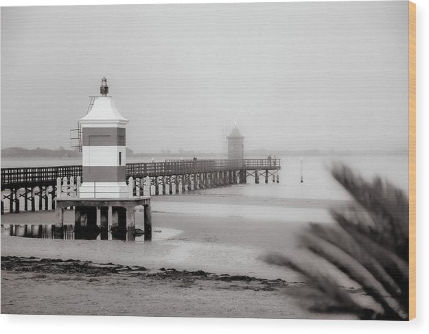Pier With Two Lighthouses In Lignano Sabbiadoro, Italy - Wood Print from Wallasso - The Wall Art Superstore