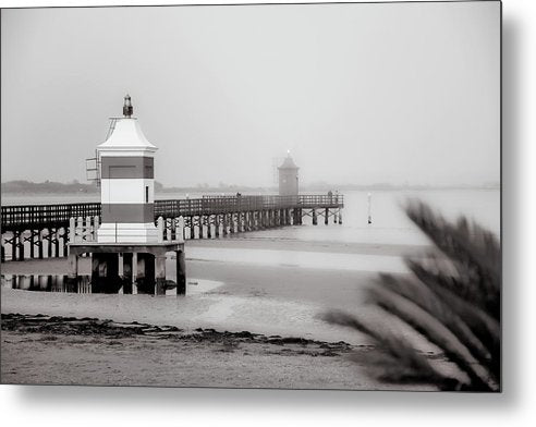 Pier With Two Lighthouses In Lignano Sabbiadoro, Italy - Metal Print from Wallasso - The Wall Art Superstore