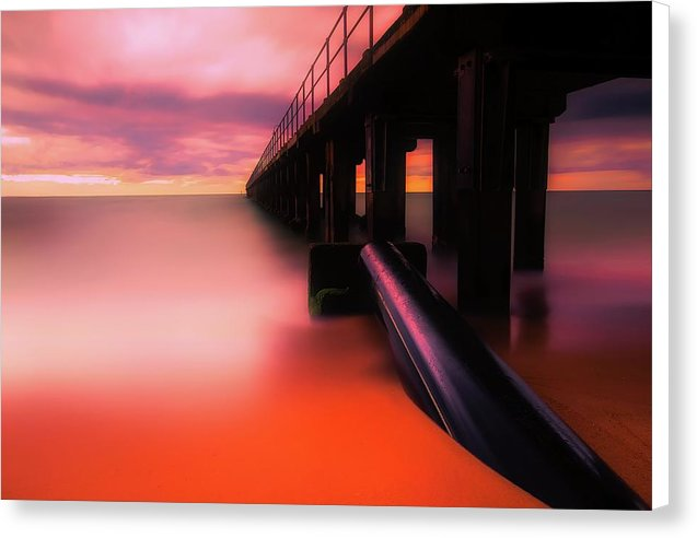 Pier With Vibrant Orange Color - Canvas Print from Wallasso - The Wall Art Superstore