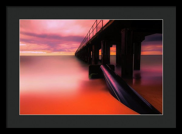 Pier With Vibrant Orange Color - Framed Print from Wallasso - The Wall Art Superstore