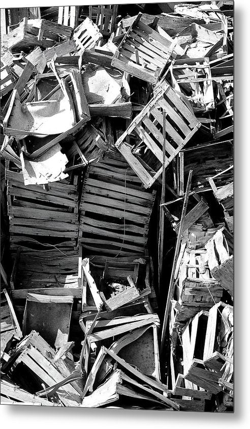 Pile of Broken Wooden Crates - Metal Print from Wallasso - The Wall Art Superstore