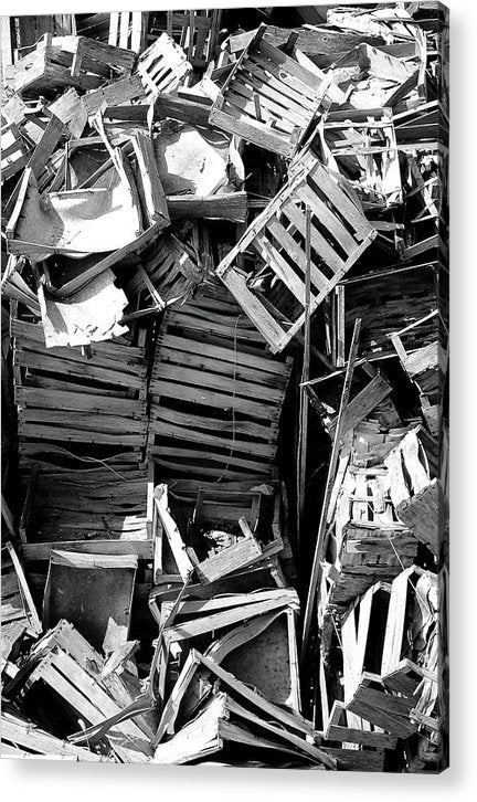 Pile of Broken Wooden Crates - Acrylic Print from Wallasso - The Wall Art Superstore