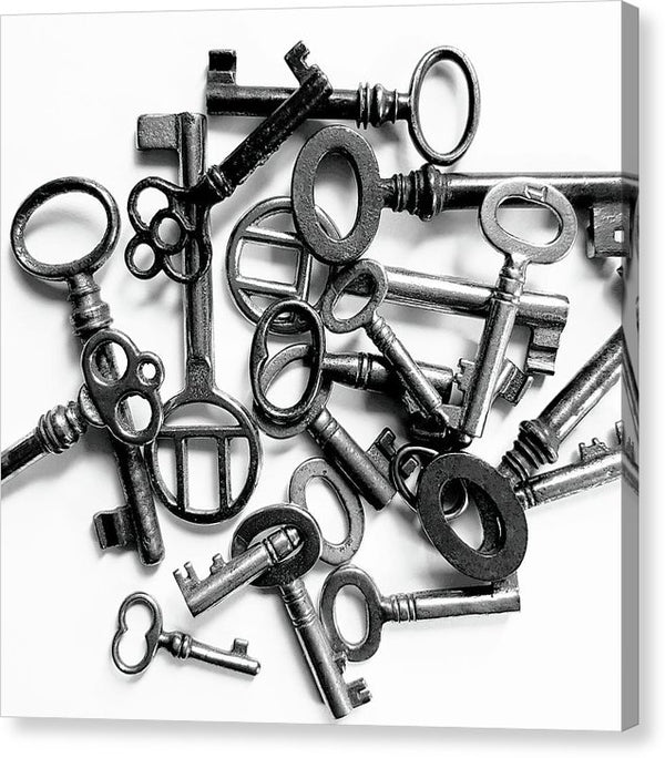 Pile of Skeleton Keys - Canvas Print from Wallasso - The Wall Art Superstore