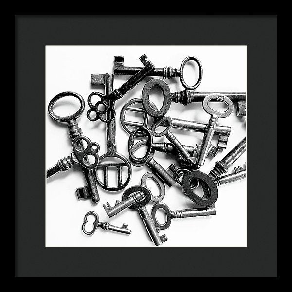 Pile of Skeleton Keys - Framed Print from Wallasso - The Wall Art Superstore