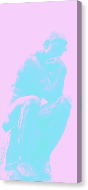 Pink and Blue Boho Thinker by Auguste Rodin - Canvas Print from Wallasso - The Wall Art Superstore