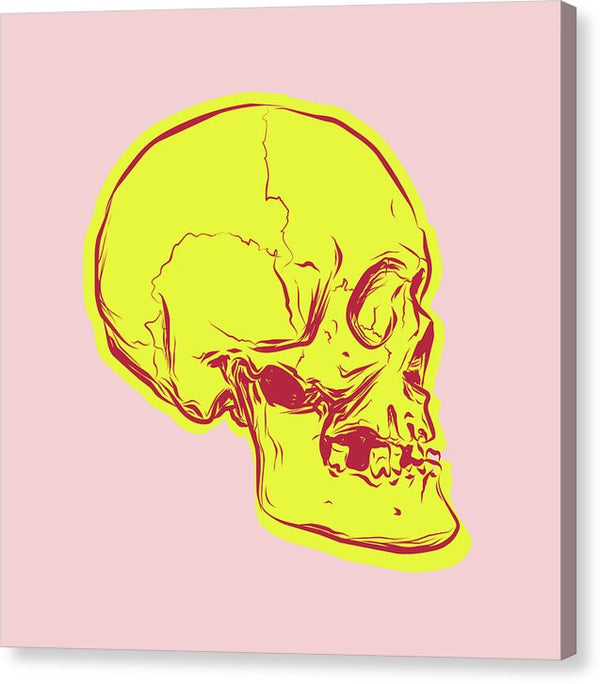 Pink And Yellow Boho Skull - Canvas Print from Wallasso - The Wall Art Superstore
