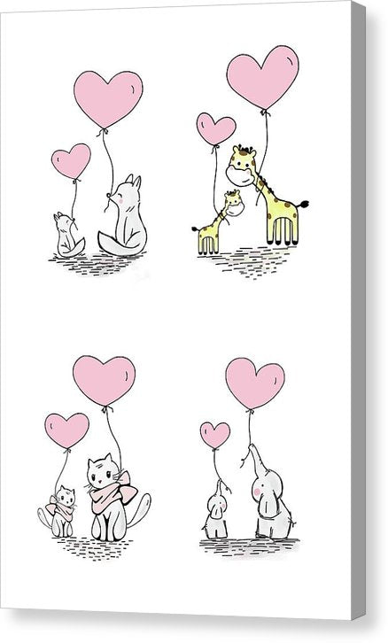 Pink Baby Animals With Heart Balloons For Kids - Canvas Print from Wallasso - The Wall Art Superstore