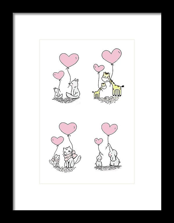 Pink Baby Animals With Heart Balloons For Kids - Framed Print from Wallasso - The Wall Art Superstore