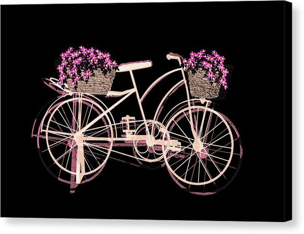 Pink Bicycle With Flowers and Baskets Art - Canvas Print from Wallasso - The Wall Art Superstore