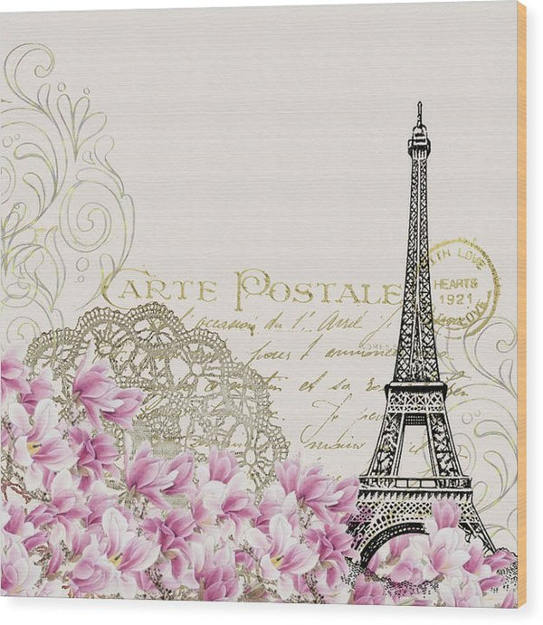 Pink Floral Eiffel Tower Decoupage Design - Wood Print from Wallasso - The Wall Art Superstore