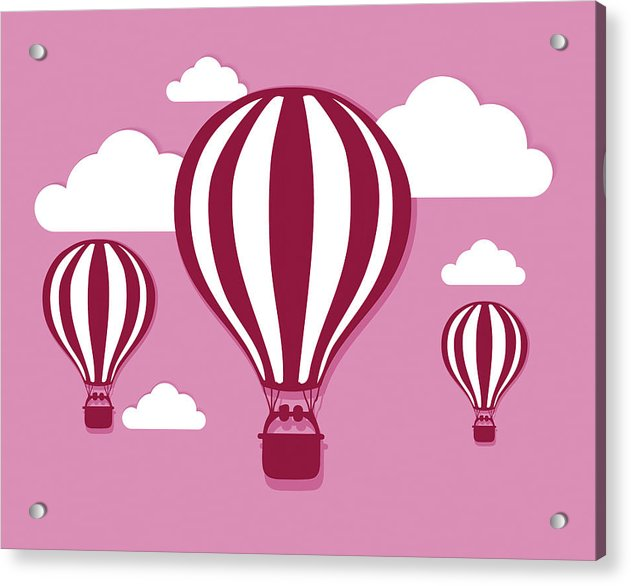 Pink Hot Air Balloons For Kids - Acrylic Print from Wallasso - The Wall Art Superstore