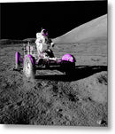 Pink Pop Art Astronaut In Lunar Roving Vehicle - Metal Print from Wallasso - The Wall Art Superstore