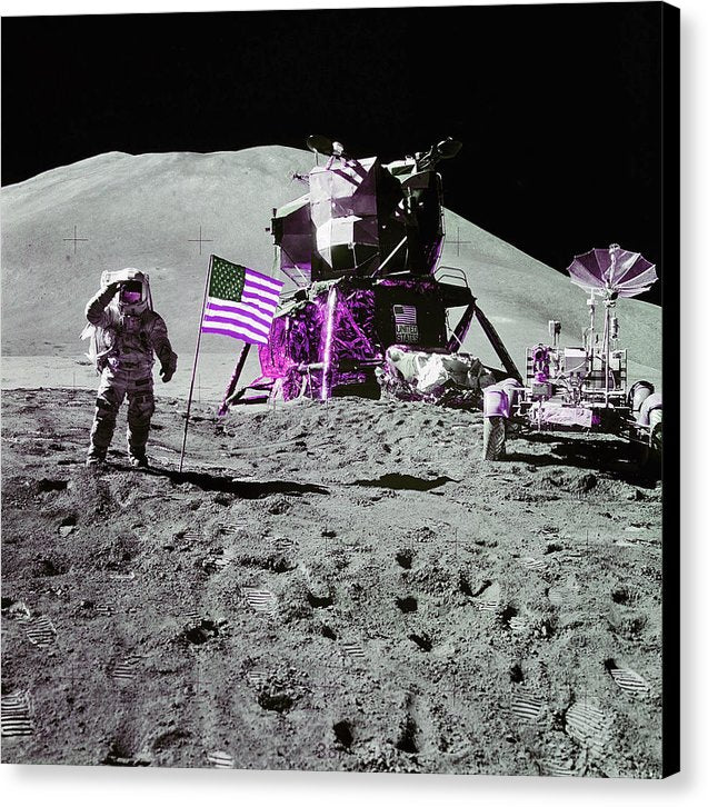 Pink Pop Art Lunar Landing Astronaut Saluting American Flag - Canvas Print from Wallasso - The Wall Art Superstore