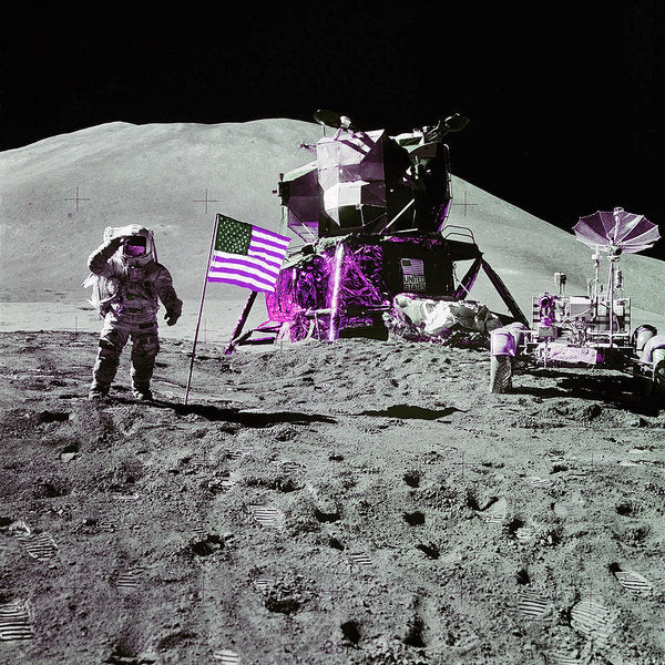 Pink Pop Art Lunar Landing Astronaut Saluting American Flag - Art Print from Wallasso - The Wall Art Superstore