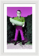 Pink Pop Art Paul Bunyan Statue Holding Hot Dog - Framed Print from Wallasso - The Wall Art Superstore