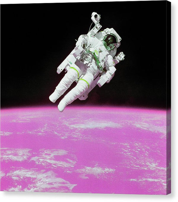 Pink Pop Art Planet Earth Below Astronaut - Canvas Print from Wallasso - The Wall Art Superstore