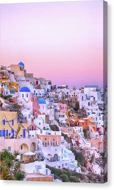 Pink Sunset In Santorini Greece - Canvas Print from Wallasso - The Wall Art Superstore