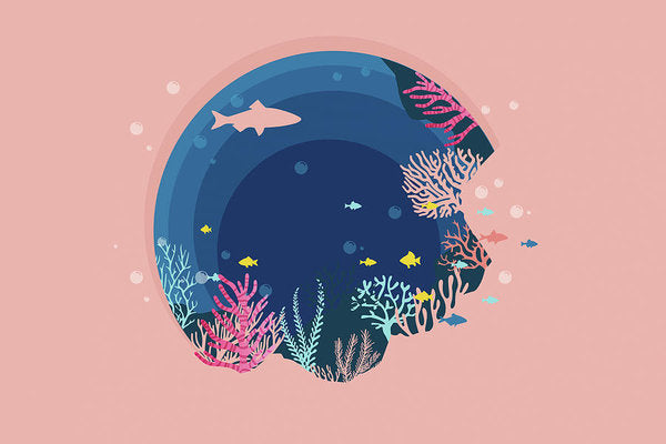 Pink Underwater Reef Design - Art Print from Wallasso - The Wall Art Superstore