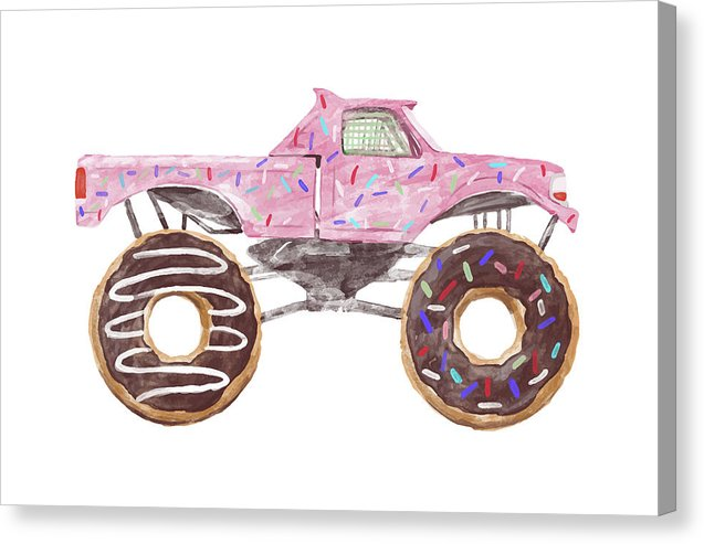 Pink Watercolor Monster Truck With Donut Wheels and Sprinkles For Kids - Canvas Print from Wallasso - The Wall Art Superstore