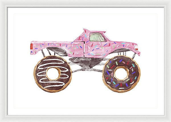 Pink Watercolor Monster Truck With Donut Wheels and Sprinkles For Kids - Framed Print from Wallasso - The Wall Art Superstore