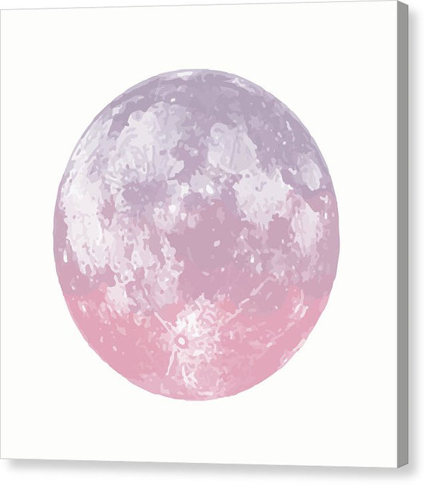 Pink Watercolor Moon - Canvas Print from Wallasso - The Wall Art Superstore