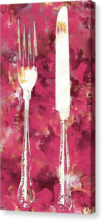 Pink Watercolor Painting of Fork and Knife Utensils - Canvas Print from Wallasso - The Wall Art Superstore