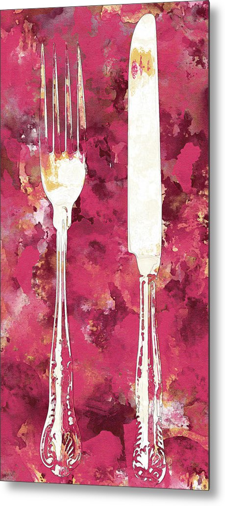 Pink Watercolor Painting of Fork and Knife Utensils - Metal Print from Wallasso - The Wall Art Superstore