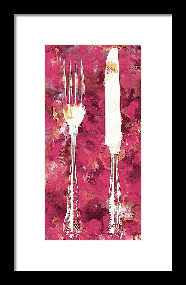 Pink Watercolor Painting of Fork and Knife Utensils - Framed Print from Wallasso - The Wall Art Superstore
