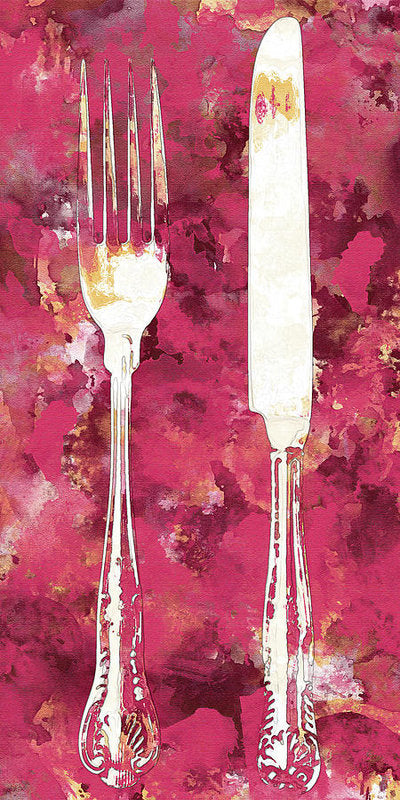 Pink Watercolor Painting of Fork and Knife Utensils - Art Print from Wallasso - The Wall Art Superstore